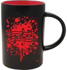 Mug (Cafe) - Black With Red Notes Burst, AIM Gifts